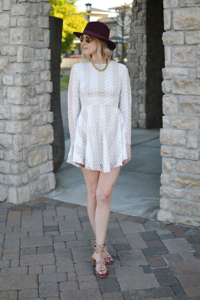 Spring Neutrals, lace dress, Sam Edelman dion sandals
