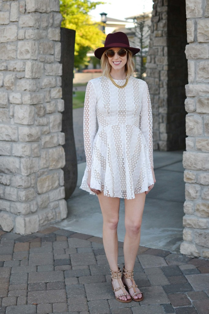 Spring Neutrals, lace dress, Sam Edelman dion sandals, burgundy hat