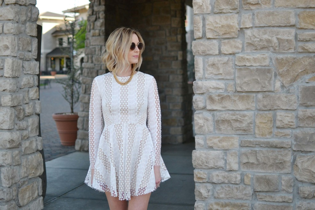 Spring Neutrals, lace dress,