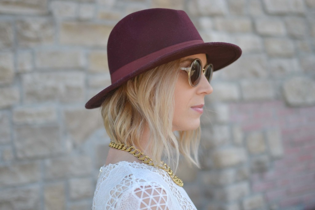 Spring Neutrals, lace dress, burgundy hat