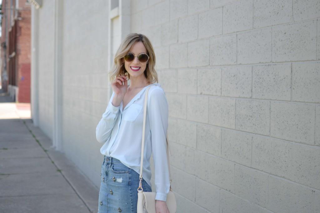 jean skirt, blue blouse, fringe bag, round sunglasses 1