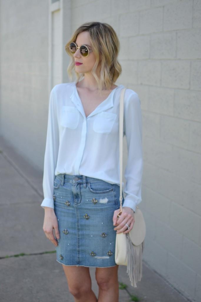 jean skirt, blue blouse, fringe bag, round sunglasses 2