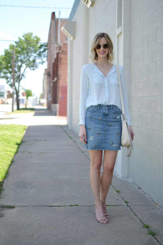 jean skirt, blue blouse, fringe bag, round sunglasses 3