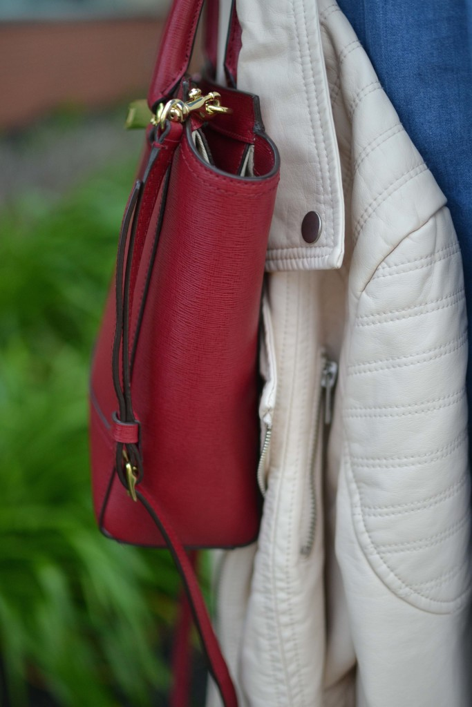 spring layers, blush moto jacket, denim dress details