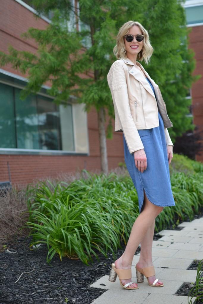 spring layers, blush moto jacket, denim dress, mules