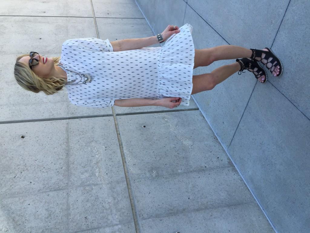 chicwish dress, sandals, art deco necklace
