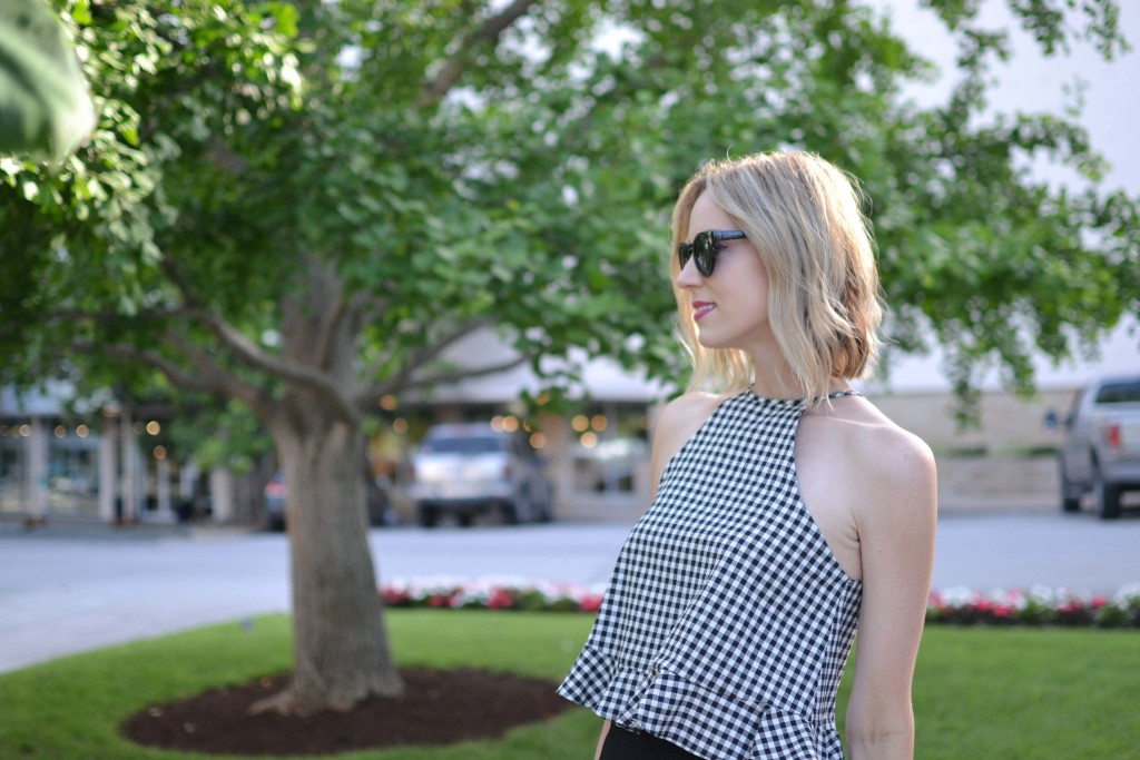 gingham top, black culottes, date night look