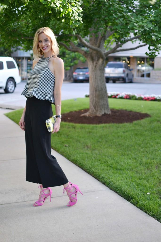 gingham top, black culottes, pink heels