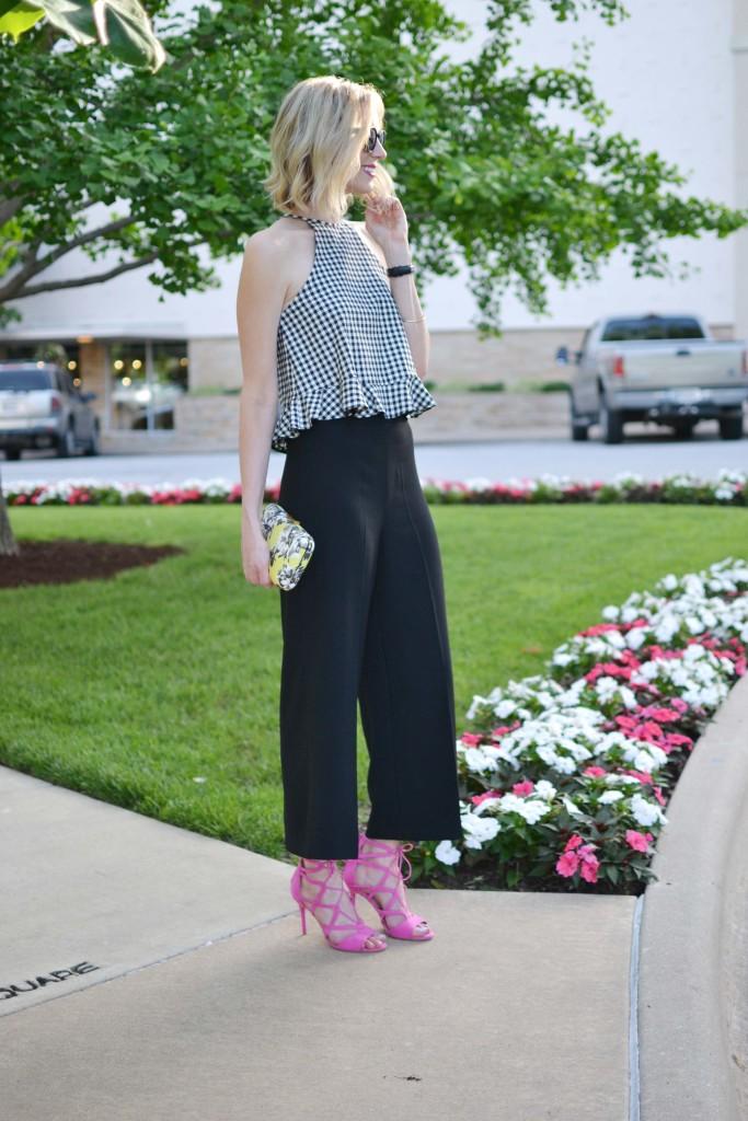 gingham top, zara black culottes, pink heels