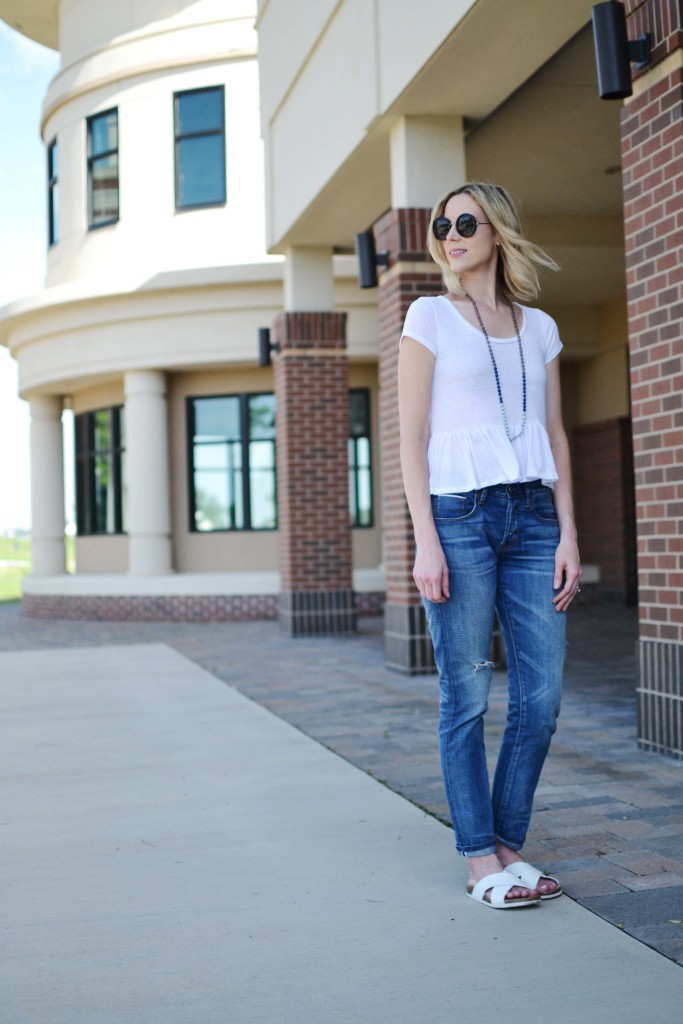 jeans and a tee, slide, tassel necklace