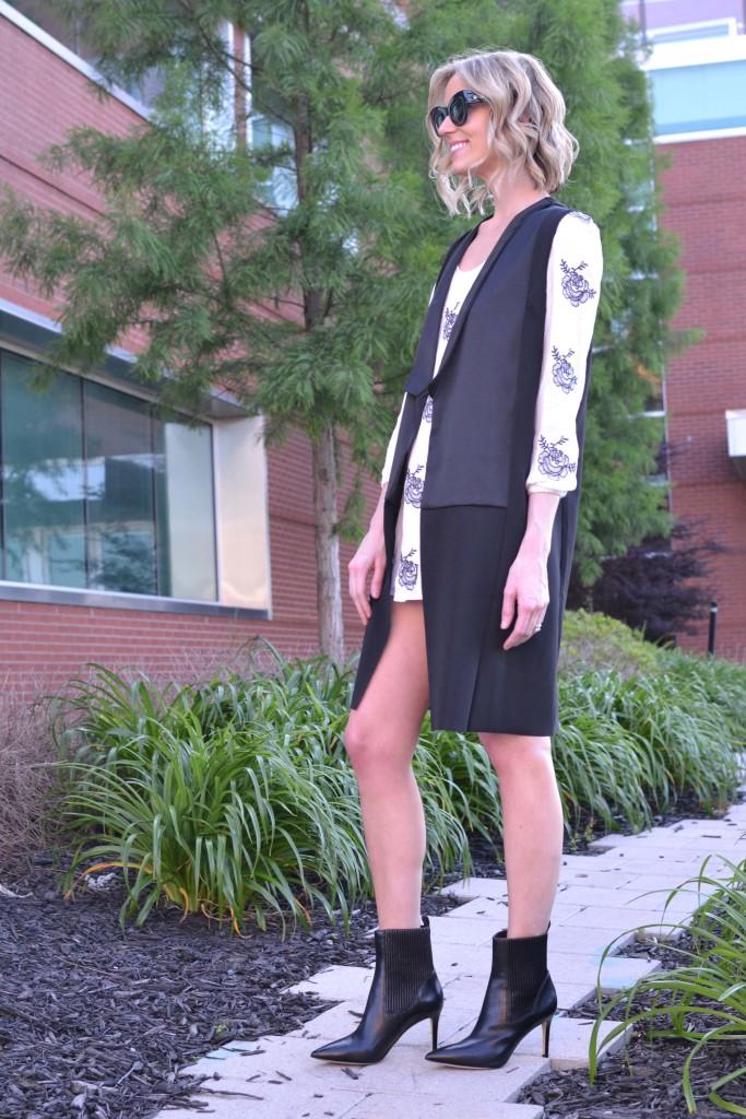 sheinside dress, karen walker northern lights, vest, black booties 2