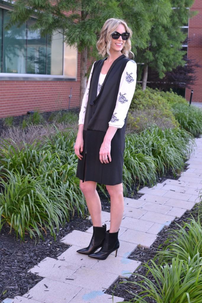 sheinside dress, karen walker northern lights, vest, black booties 3