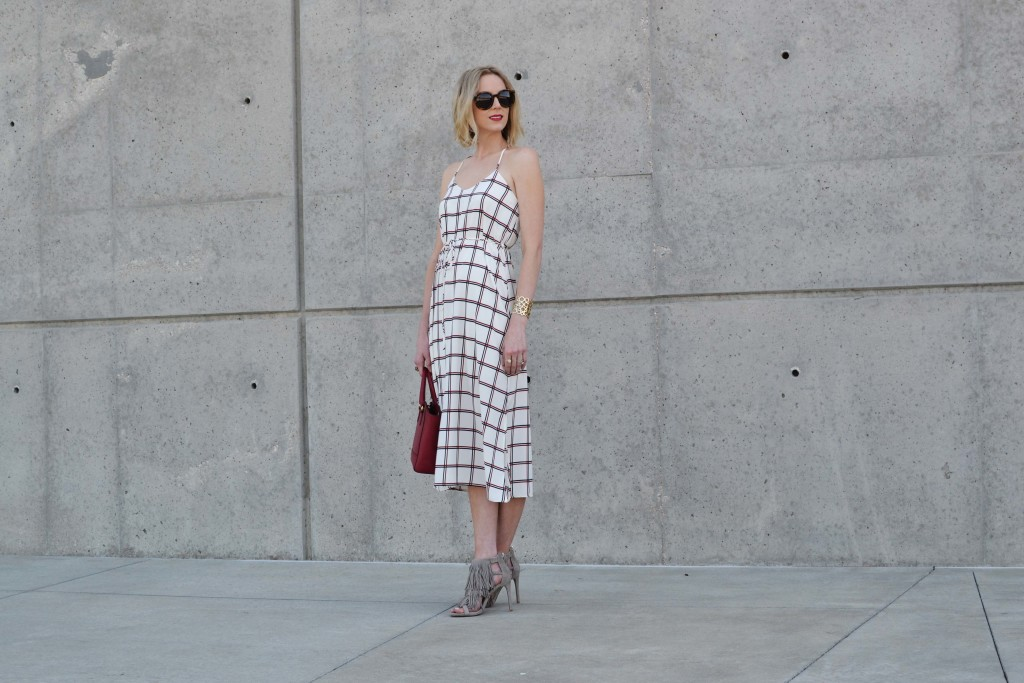 LuLu*s striped dress, Steve Madden fringe heels, red coach bag, karen walker sunglasses 1