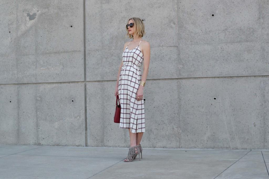 LuLu*s striped dress, Steve Madden fringe heels, red coach bag, karen walker sunglasses 2