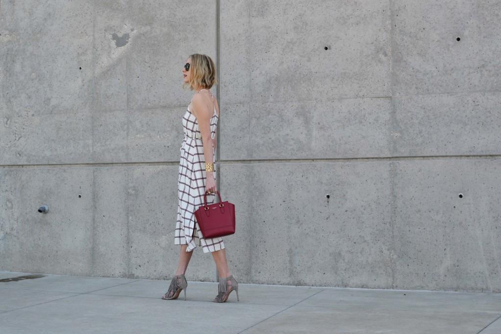 LuLu*s striped dress, red coach bag, karen walker sunglasses 3