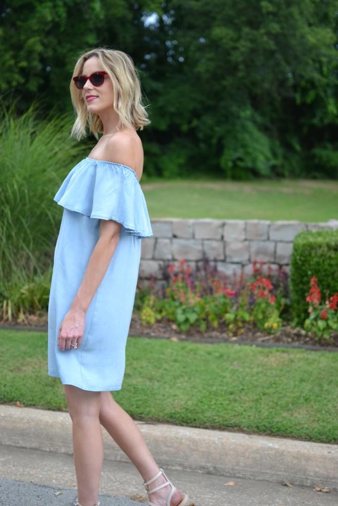 Oasap off the shoulder denim dress, red sunglasses, Rebecca Minkoff sandals
