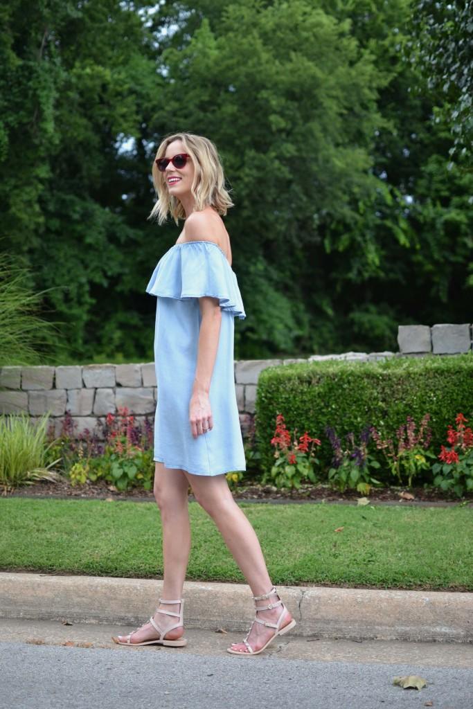 Oasap off the shoulder denim dress, red sunglasses, sandals 1
