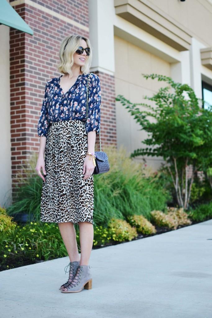 Pleione printed blouse, leopard skirt, Jeffrey Campbell Cors booties, Rebecca Minkoff bag, Karen Walker sunglasses