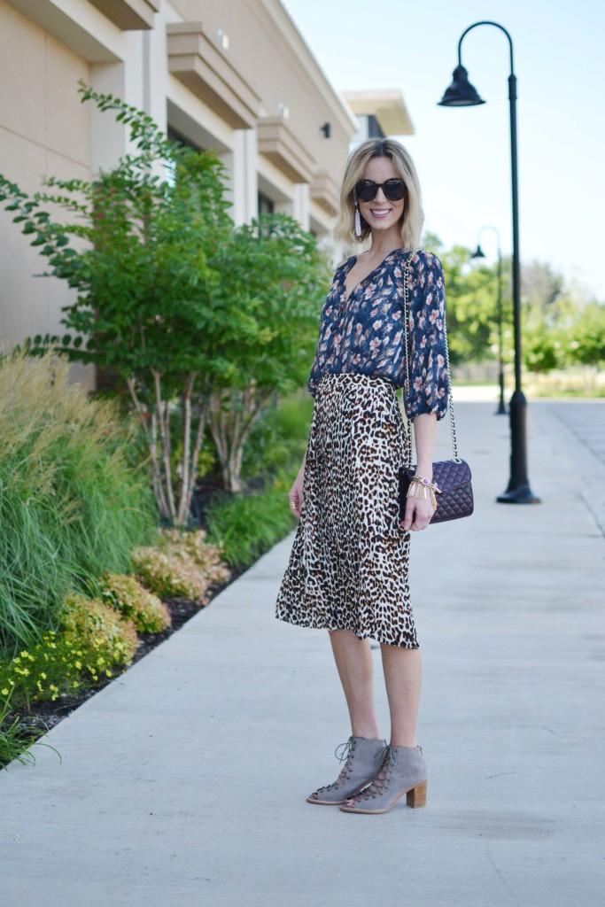 Pleione printed blouse, leopard skirt, Jeffrey Campbell Cors booties, Rebecca Minkoff bag, Purple Peridot jewelry