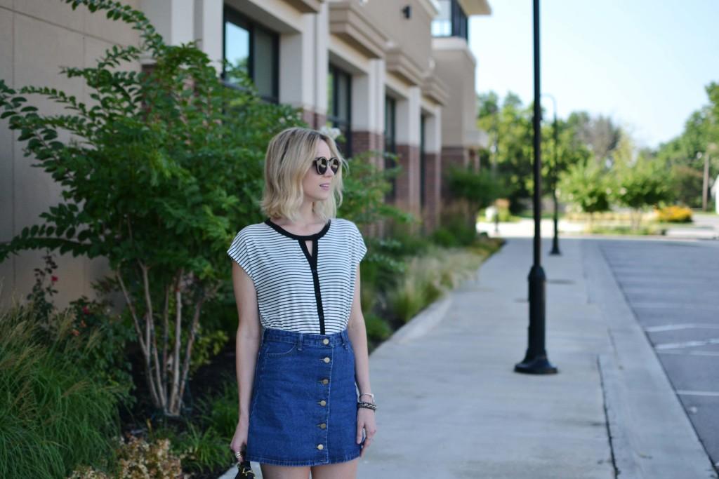 Pleione striped blouse, jean skirt
