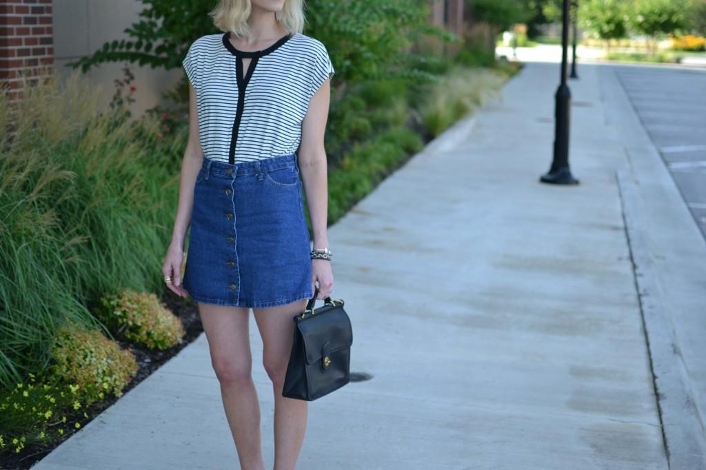 Pleione striped blouse, jean skirt, coach bag
