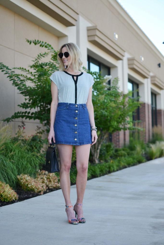 Pleione striped blouse, jean skirt, floral heels, coach bag
