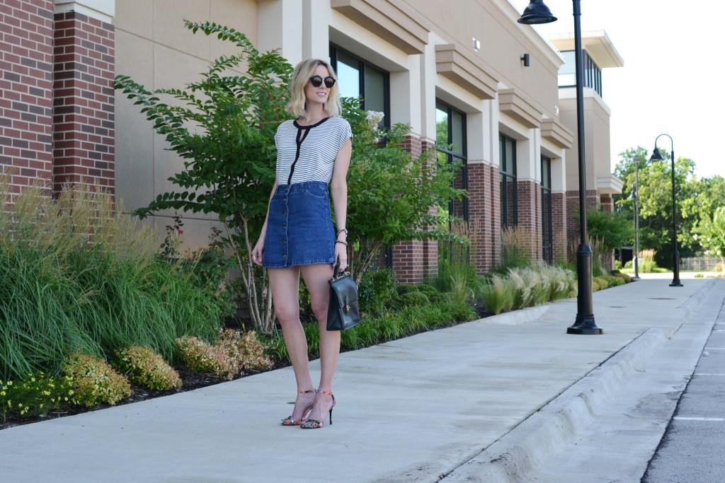 Pleoine striped blouse, jean skirt, floral heels