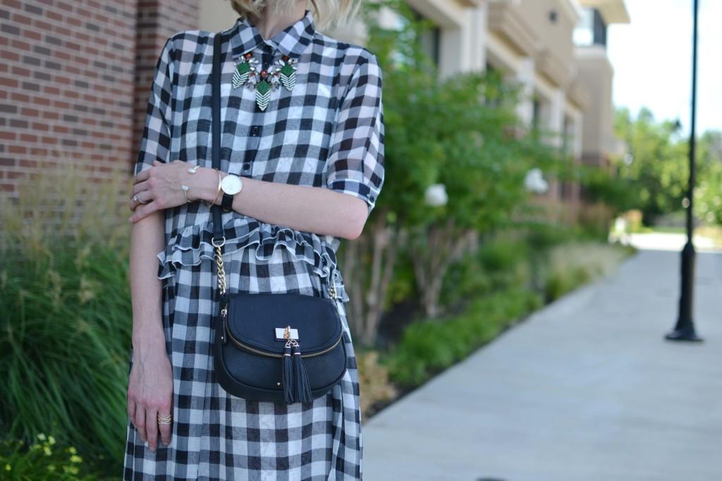chicwish gingham dress, red reticule necklace, tassel purse, KS bracelet, DW watch