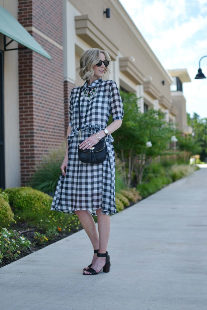 chicwish gingham dress, red reticule necklace, tassel purse, black stacked heel sandals