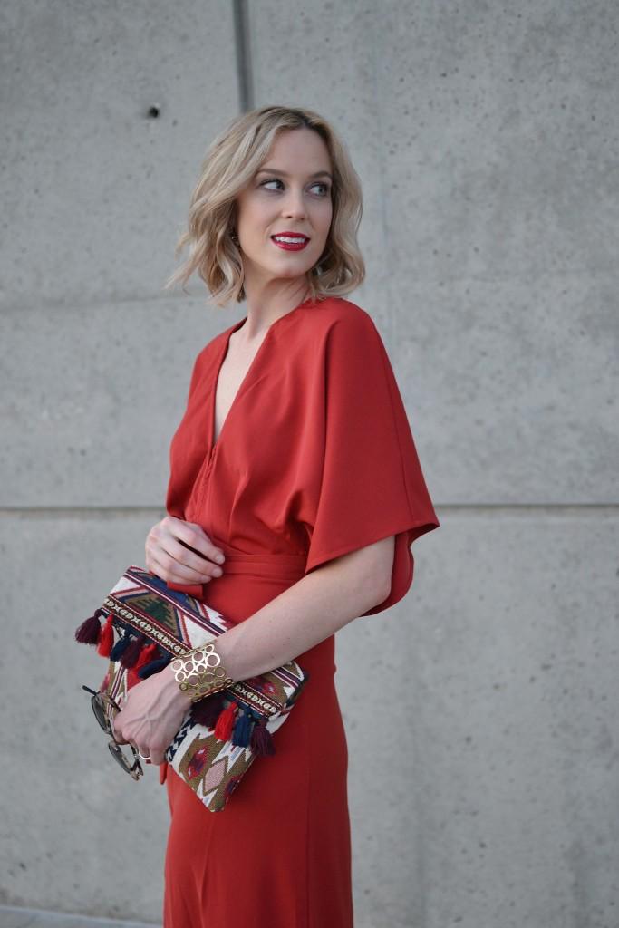 LuLu*s rust maxi dress, fringe clutch, mules