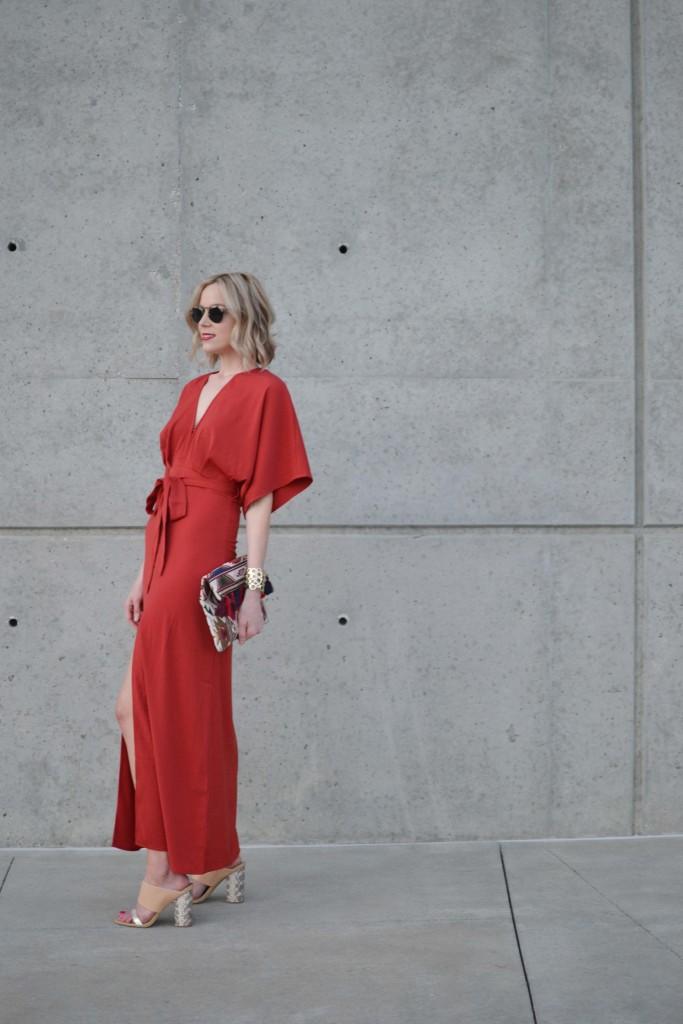 LuLu*s rust maxi dress, mules, fringe clutch