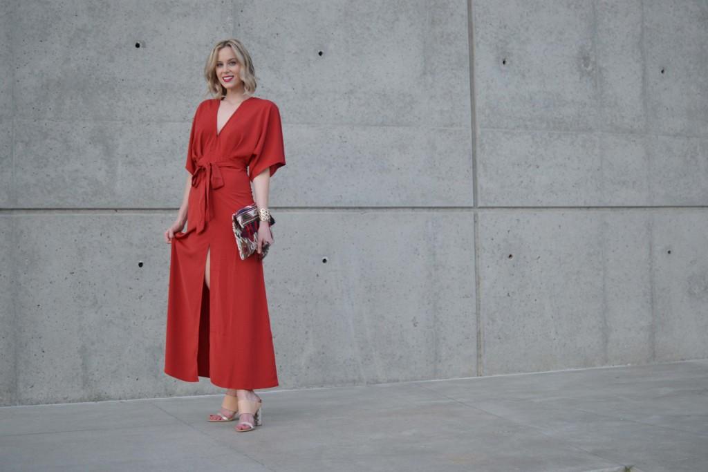 LuLu*s rust maxi dress, mules, fringe clutch, red lip