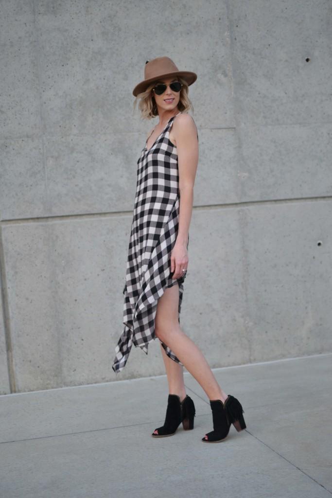 Maude plaid dress, fringe booties, hat