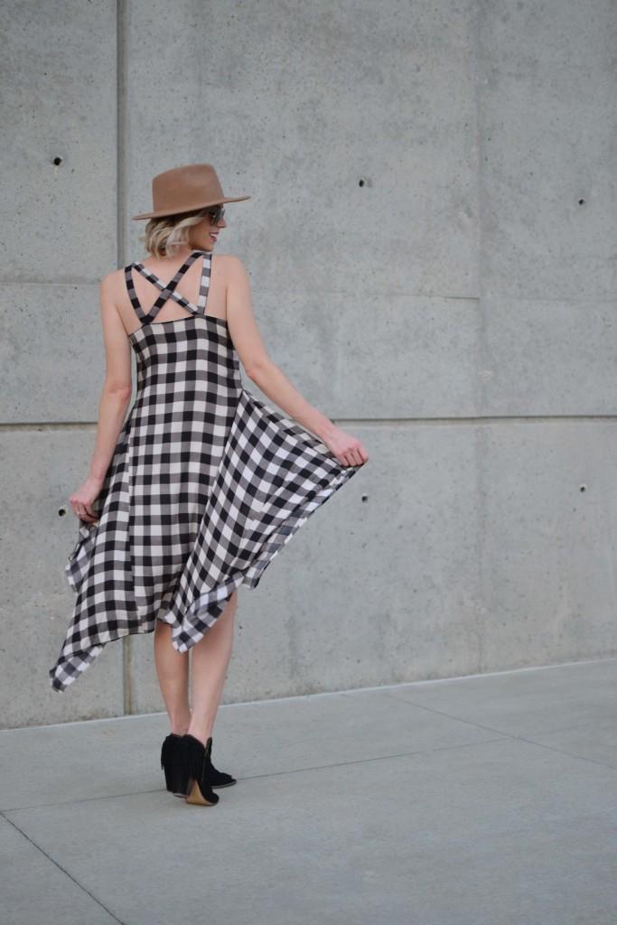 Maude plaid dress, fringe booties, hat, aviators 1