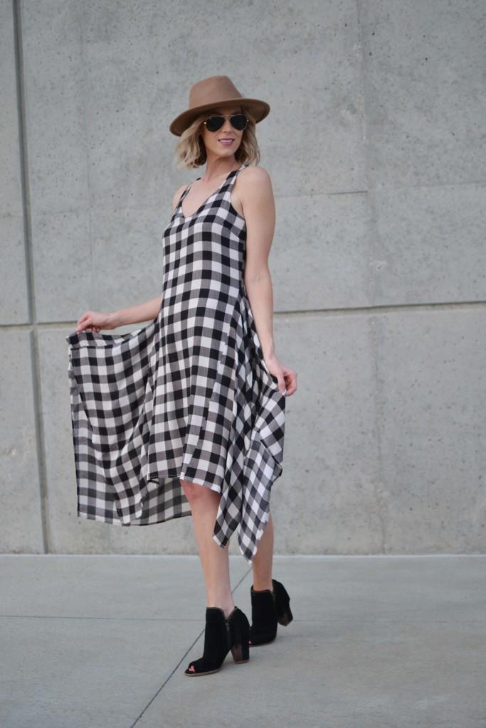 Maude plaid dress, fringe booties, hat, aviators