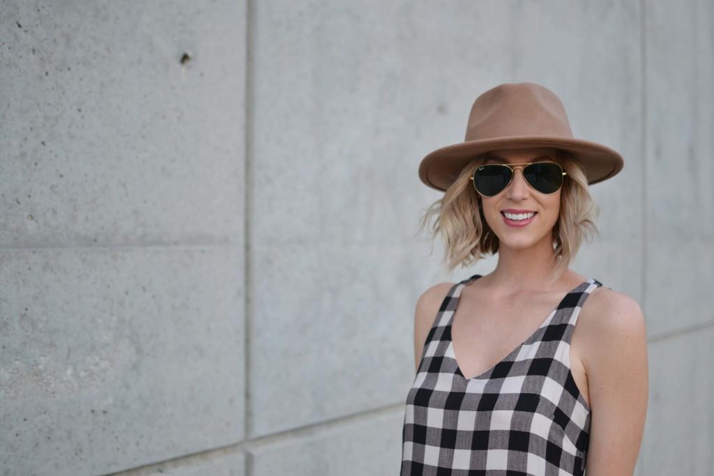Maude plaid dress, hat, aviators