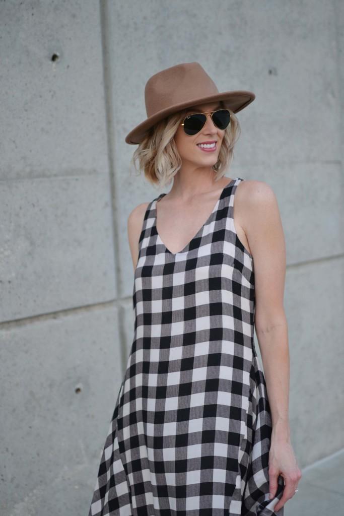 Maude plaid dress, hat, fringe booties