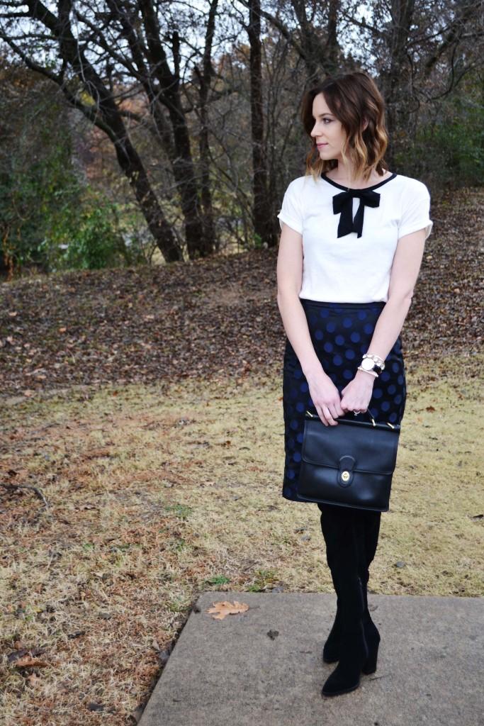 OTK Boots, bow shirt, polka dot pencil skirt 1