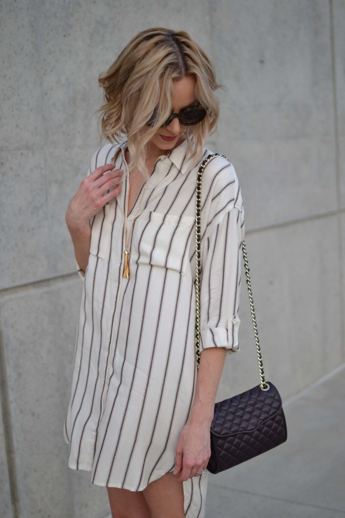 Sage plaid shirt dress, rebecca minkoff purse