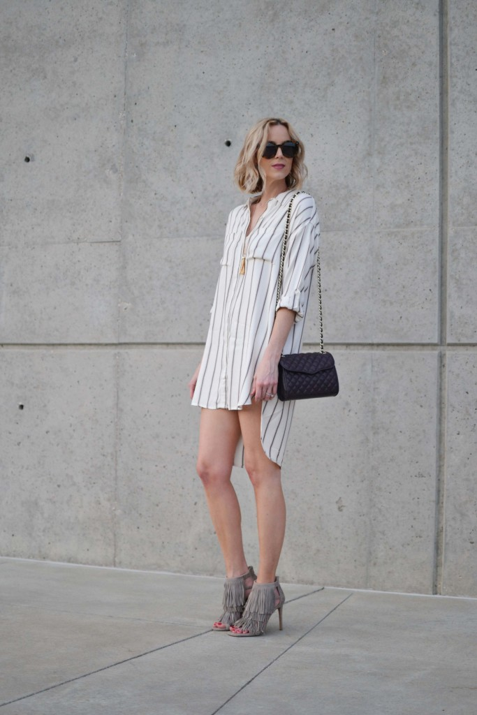 Sage shirt dress, fringe heels