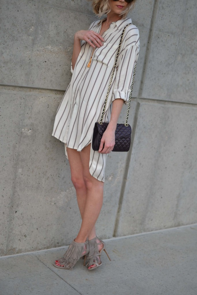 Sage shirt dress, fringe heels, rebecca minkoff bag 1