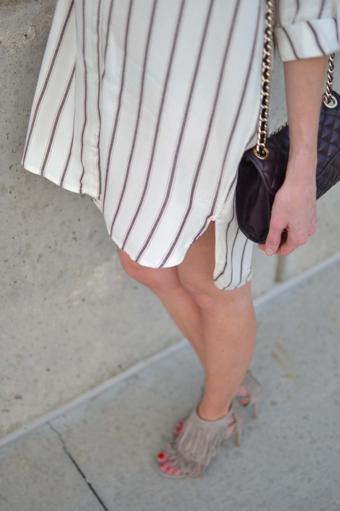 Sage shirt dress, fringe heels, rebecca minkoff bag details