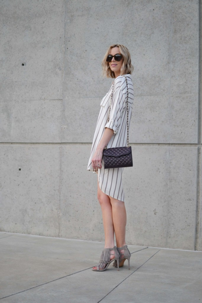 Sage shirt dress, fringe heels, rebecca minkoff purse