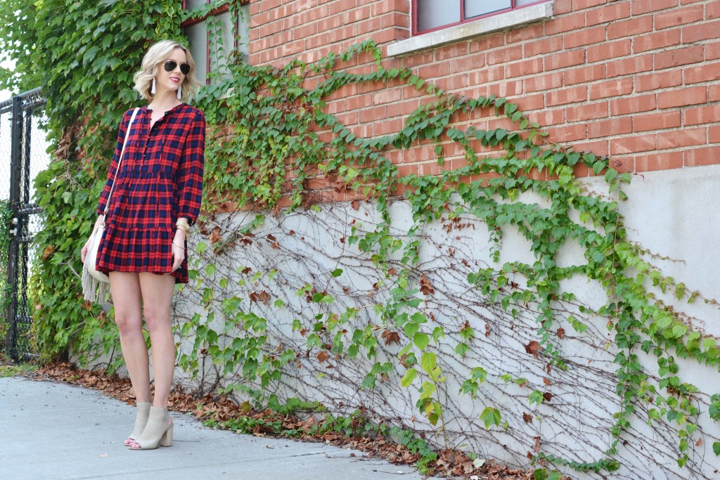 plaid dress, booties, fringe bag 1