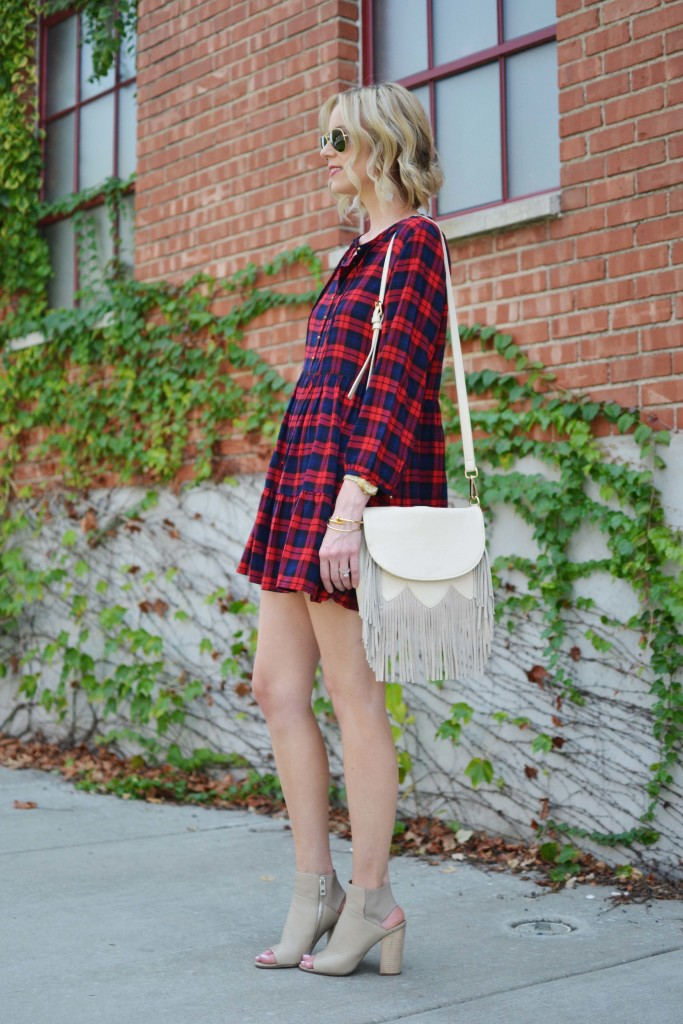 plaid dress, booties, fringe bag