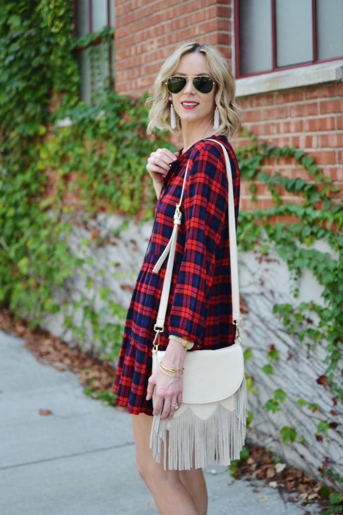 plaid dress, fringe bag