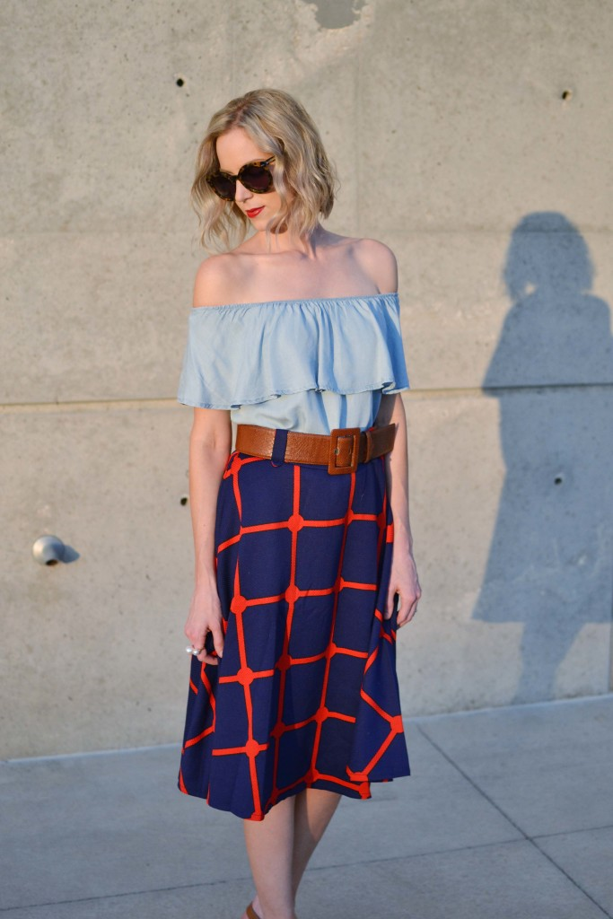 chicwish plaid skirt, off the shoulder dress