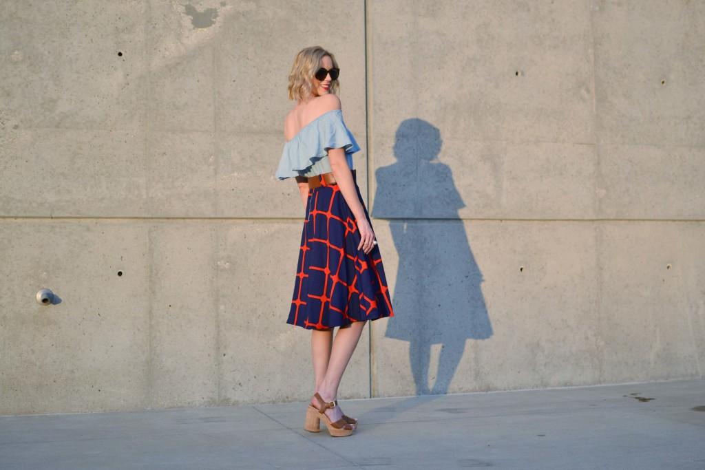 chicwish plaid skirt, off the shoulder dress, platforms