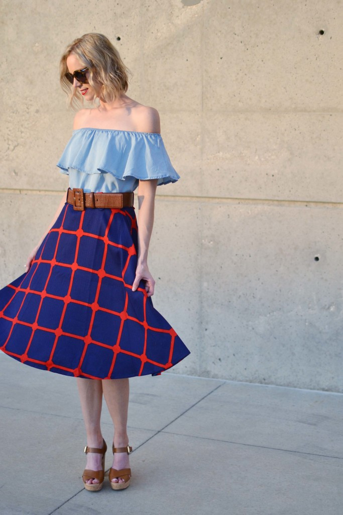 chicwish plaid skirt, off the shoulder dress, platforms, karen walker sunglasses