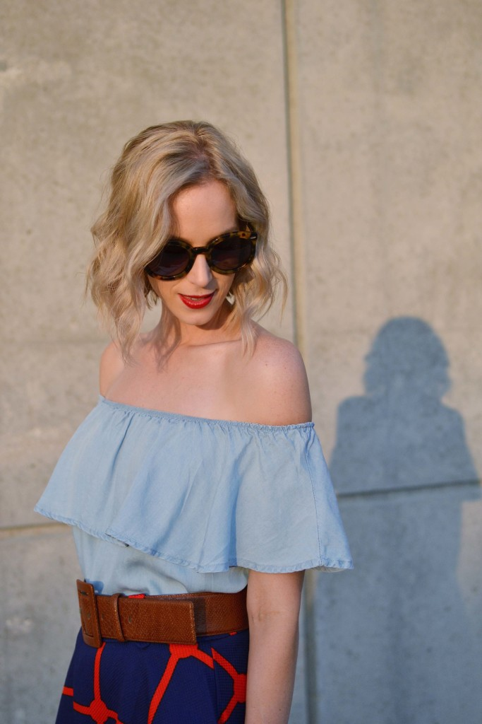 chicwish plaid skirt, off the shoulder dress, red lip